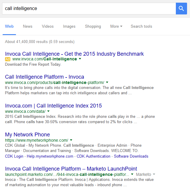 Call Intelligence SERPs