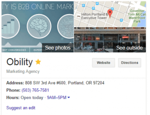 Obility SEO quick win knowledge graph