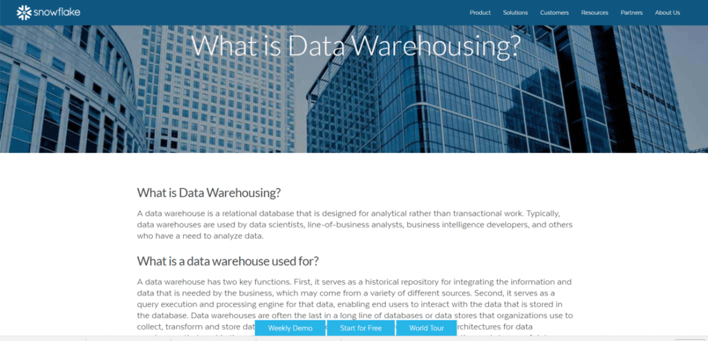what is data warehousing snowflake answer question FAQ