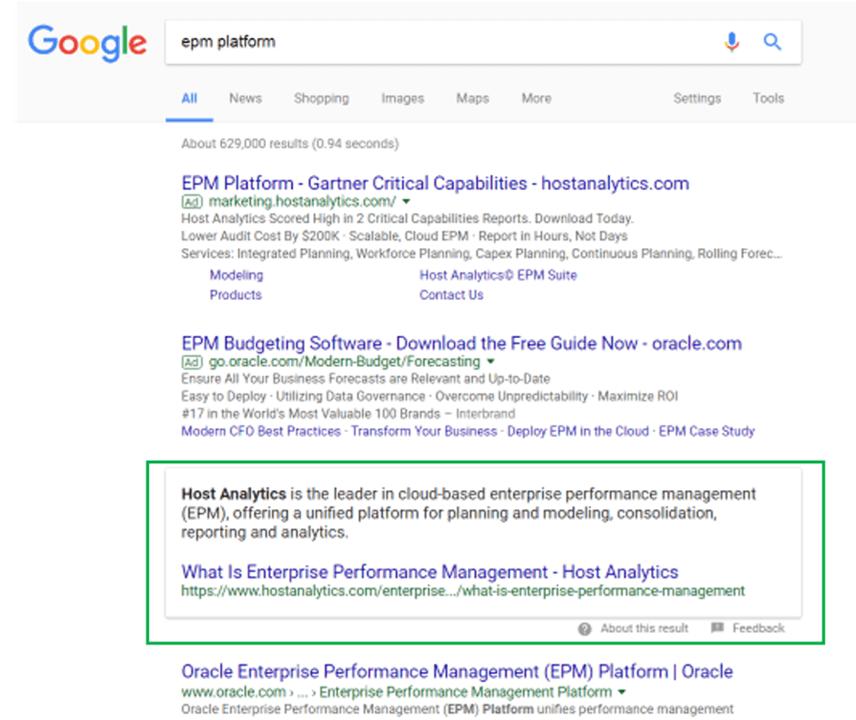EPM host analytics glossary serp google result