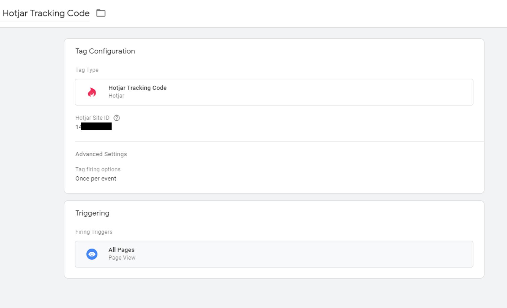 HotJar Google Tag Manager tag
