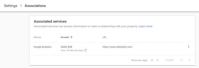 Google Search Console Association Settings